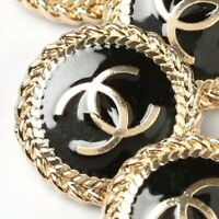 Chanel Buttons STAMPED 4pc CC Gold & Black 20mm Vintage Style AUTH!!!