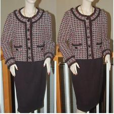 WOW STUNNING ST. JOHN KNIT COLLECTION HUNTER RICH BROWN  KNIT SKIRT SUIT SZ 12