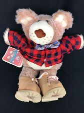 "FARRELL Furskin Plush Teddy Bear Xavier Roberts 1986 Red Plaid Shirt Tag  22"""