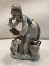 Vtg Lladro Porcelain Figurine 1246 Caress and Rest Retired 1990 Girl Dog Vase