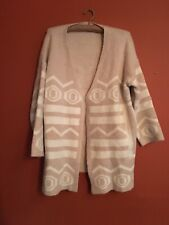 Nordic Oversized Open Front Cream Aztec Hippie Winter Cardigan M