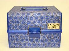 Vintage Sassaby Makeup Cosmetic Train Travel Case Organizer Blue Fabric