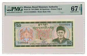 BHUTAN banknote 20 Ngultrum 2000 PMG MS 67 EPQ Superb Gem Uncirculated