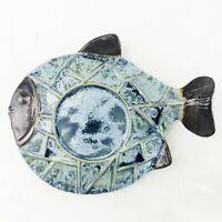 Glazed Pottery Flat Fish Shape Pillar Candle Holder Plate Decor Beach Tropical