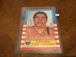 Andre The Giant Signed 1987 Topps WWF Wrestling Stars Card