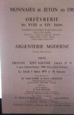 1977 Drouot Rive Gauche Salle N°12 Monnaies&Jetons Or Orfèvrerie XVIII et XIXè