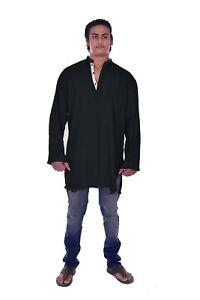 Indian Men Shirt Casual Cotton Tunic Black Color Wedding Wear Loose Fit Shirt