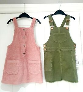 GIRLS 5-6 DRESS BUNDLE PINAFORE DRESS NWT Pink Khaki summer spring holiday