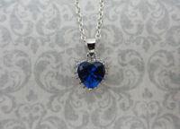 Sapphire CZ Heart Pendant - 925 Sterling Silver - September Birthstone Necklace