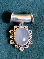 VINTAGE STERLING SILVER 925 OPALITE ROPE CHAIN PENDANT CELESTIAL DESIGN 5.6G