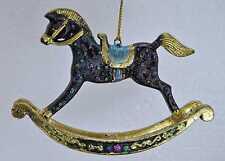 Bezauberndes Schaukelpferd, Deko Hänger dunkelblau, gold, Verzierungen, 13 cm