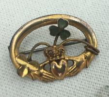 Vintage Oval Irish Celtic Connemara Shamrock Claddagh Gold Tone Brooch Pin
