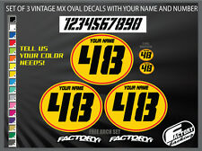 vintage motocross number plates Sticker Ovals YOUR # YOUR NAME d17E04