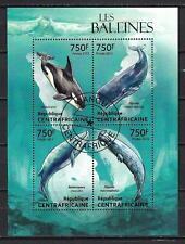 Animaux Baleines Centrafrique (206) série complète de 4 timbres oblitérés