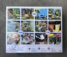 12 Pack of assorted Garden Flowers Plant themed, Jigsaw Puzzles set New Sealed.
