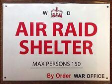 METAL RAILWAY SIGN -  AIR RAID SHELTER WAR OFFICE
