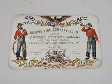 Magnificent Color & Detail 1854 Fireman's Ball Invitation Lyons NY