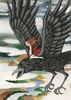 ACEO PRINT OF PAINTING RYTA RAVEN CROW GOTHIC FAIRY ANGEL FANTASY FOLK ART WICCA