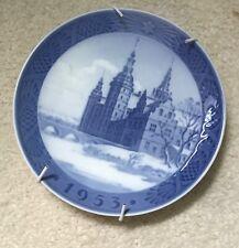 1953 Wall Plate Royal Copenhagen Blue Porcelain Church Bridge Scene Hanger