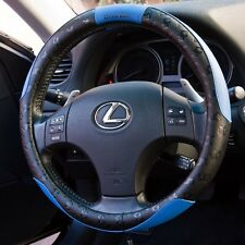 Black Blue PVC Leather Steering Wheel Cover Non-Slip Snug Fit Sport 51006a
