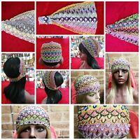 MISSONI & designer flower expandable hair wrap head band classical retro pattern