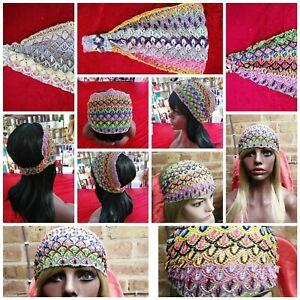 STRETCH BREATHABLE Gym Yoga Festival Lotus Flower EXPANDABLE Hair wrap head band