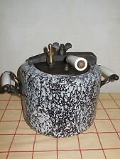 RARE ANTIQUE French Graniteware Enameled steel PRESSURE COOKER POT LILOR 1920's