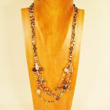 "26"" Classic Vintage Multi Strand Gold & Clear Handmade Seed Bead Necklace"