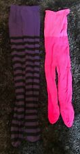 X 2 Pairs Of Funky Tights Purple Black Stripe And Bright Pink