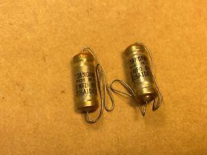 2 NOS Vintage Sangamo .01 uf 600v PIO Capacitors Oil Amp Tone TESTED .012-.013
