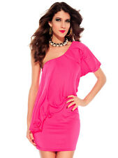 Bright Pink Ruffle Drape Cocktail Stretch Mini Dress One Sleeve 2703