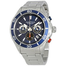 Nautica Black Dial Mens Stainless Steel Chronograph Watch NAD16558G