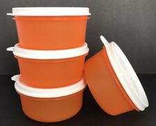Tupperware Serving Cups 8 oz Capacity Containers Set of 4 Orange White Seals New