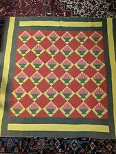 Antique American Flower Basket Quilt The Best Handstitched Great Colors Carroll