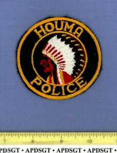 """HOUMA (Old Vintage) LOUISIANA Police Patch INDIAN MESH BACK CHEESECLOTH 3"""""""