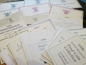 ROYAL MINT CERTIFICATES FOR PROOF SETS FROM 1970 - 2019