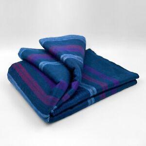 Soft and Warm Dark Blue Purple Striped ALPACA Wool Blanket Queen Bed Sofa Throw