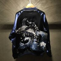 Souvenir Jacket Japanese Pattern Embroidery SUKAJAN REVERSIBLE Whale Sea Waves