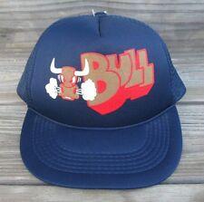Vintage Blue Mesh Trucker Snapback hat Cap Bull Snorting Bull Foam Navy