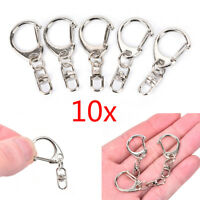 10pcs DIY Polished Silver Keyring Keychain Split Ring Short Chain Key Rings HGUK