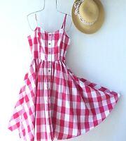 New~$118~Red & White Gingham Check Plaid Picnic Boho Dress~Size 10 Medium M