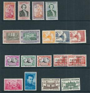 ECUADOR 1940s-1960s 7 different commemorative sets VF MLH