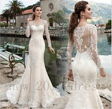 Elegant 2017 Sheer Sleeves Mermaid Wedding Dresses Appliques Tulle Bridal Gowns