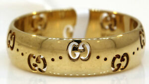 """LOVELY 18K YELLOW GOLD """"GUCCI"""" BAND! 5.5 GRAMS #S7"""