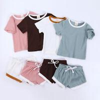 Newborn Boys Girls Kids Baby Toddler Cotton Tops Shorts Set 6 Months-4 Years