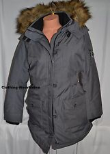 NEW Abercrombie & Fitch Womens Hooded Arctic Parka Jacket Coat Grey M Faux Fur