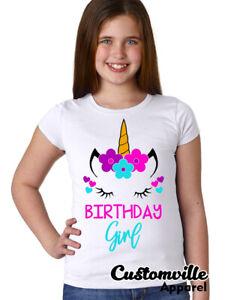 🔥 Unicorn Birthday Girl T-shirt YOUTH Flowers Girls Unicorn birthday shirt