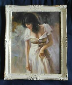 Fine 1960s Italian impressionist oil painting of lady in dress signed Pina