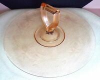 VINTAGE PINK DEPRESSION GLASS TRAY WITH GLASS HANDLE IN MIDDLE