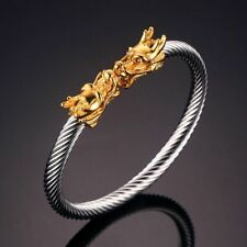 Dragon Accents Thick Cable Cuff Bracelets For Men Stainless Steel Elastic